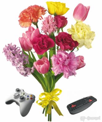 Цветы + джойстик + клавиатура :-)